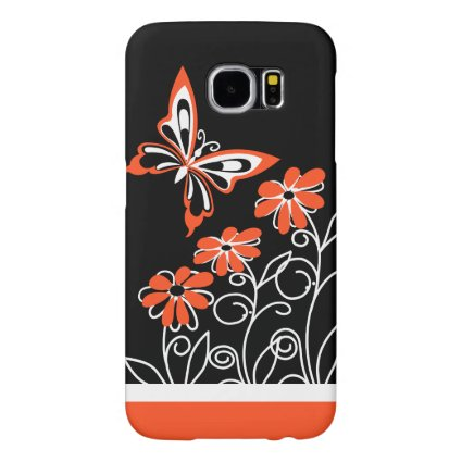 Striking Orange Butterfly and Flowers on Black Samsung Galaxy S6 Cases