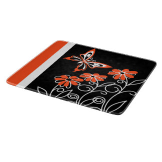 Striking Orange Butterfly and Flowers on Black Cutting Boards