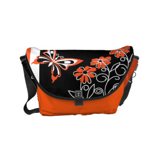 Striking Orange Butterfly and Flowers on Black Small Messenger Bag