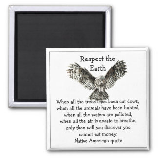 Striking Owl Respect the Earth Native American 2 Inch Square Magnet