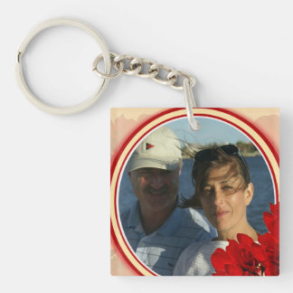 Striking Red Flowers Frame Photo Template Keychain