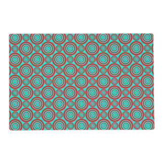Striking Red over Teal Geometric Pattern Laminated Placemat