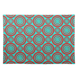 Striking Red over Teal Geometric Pattern Cloth Placemat