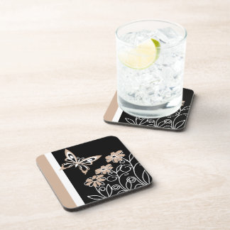Striking Roasted Almond Butterfly and Flowers Coaster