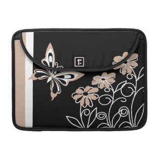 Striking Roasted Almond Butterfly and Flowers MacBook Pro Sleeve