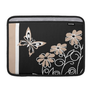 Striking Roasted Almond Butterfly and Flowers MacBook Sleeve