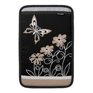 Striking Roasted Almond Butterfly and Flowers Sleeves For MacBook Air