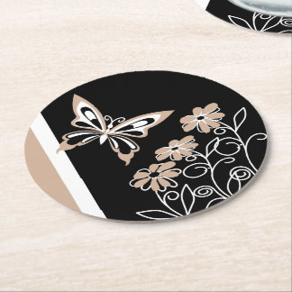 Striking Roasted Almond butterfly and flowers Round Paper Coaster