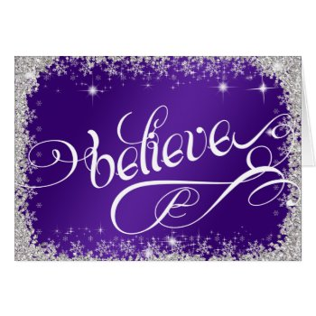 Striking Royal Purple believe message PERSONALIZE Card