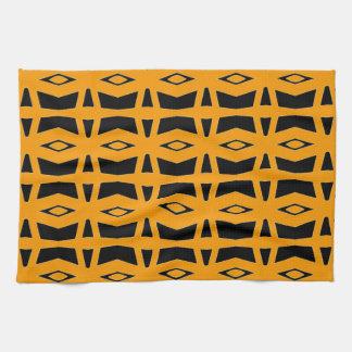 Striking Tangerine and Black Design on Hand Towel