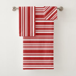 Striking Varied Red and White Stripes Towel Set