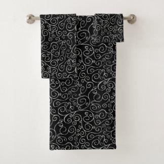 Striking White Scrolling Curves on Black Towel Set
