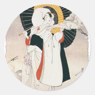 Strikingly beautiful painting of Japanese Woman Classic Round Sticker