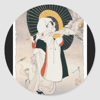 Strikingly beautiful painting of Japanese Woman Classic Round Sticker