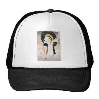 Strikingly beautiful painting of Japanese Woman Mesh Hats