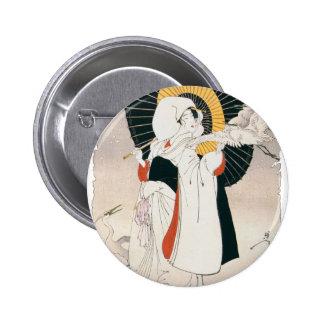Strikingly beautiful painting of Japanese Woman Pinback Button