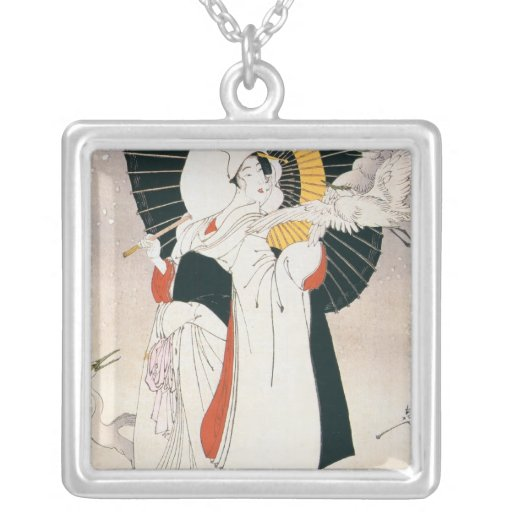 Strikingly beautiful painting of Japanese Woman. Square Pendant Necklace