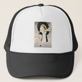 Strikingly beautiful painting of Japanese Woman Trucker Hat