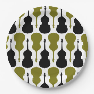 String Bass Pattern - Green and Black Paper Plate