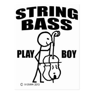 String Bass Play Boy Postcard