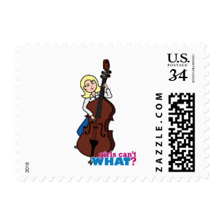 String Bass Player Girl - Light/Blonde Postage Stamp