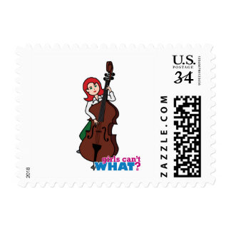 String Bass Player Girl - Light/Red Postage Stamp