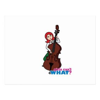String Bass Player Girl - Light/Red Postcard