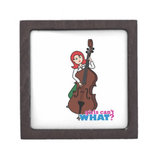 String Bass Player Girl - Light/Red Premium Jewelry Boxes