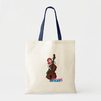 String Bass Player Girl - Light/Red Tote Bag