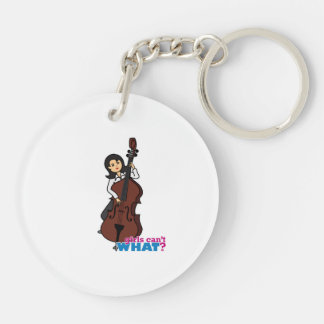 String Bass Player Girl - Medium Keychain