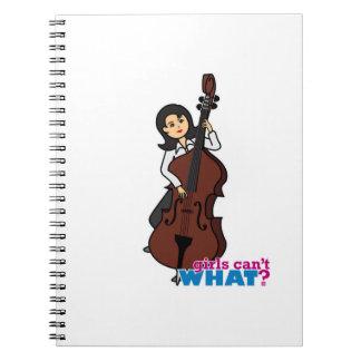 String Bass Player Girl - Medium Spiral Notebook