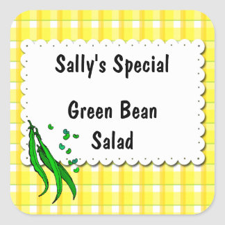 String Beans Yellow Checks Custom Canning Labels Square Sticker