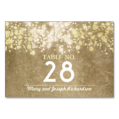 String lighs Wedding Table Number Card Place Card Table Cards