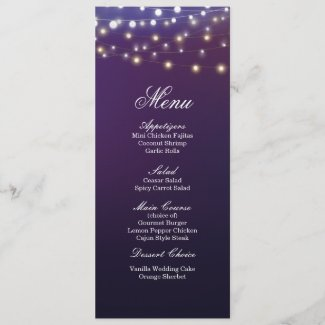 String Light Evening Wedding Dinner Menu
