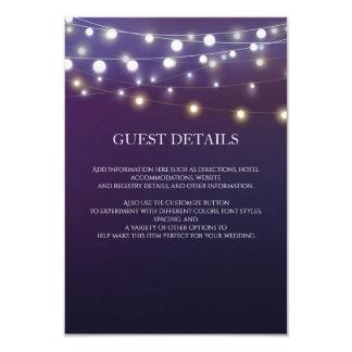 String Light Evening Wedding Guest Information Card
