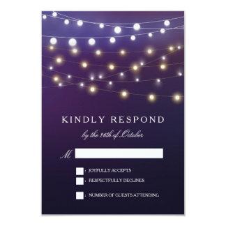 String Light Evening Wedding RSVP Card