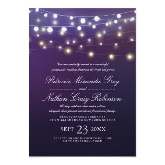 String Light Purple Evening Wedding Invites