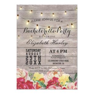 Bachelor party invitations zazzle string light rustic wood floral bachelorette party invitation stopboris Images