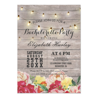 String Light Rustic Wood Floral Bachelorette Party Invitation