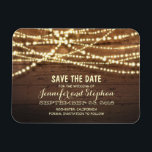 """String Lights and Barn Wood Save The Date Magnet<br><div class=""""desc"""">Rustic barn wood and string of lights save the date magnets</div>"""