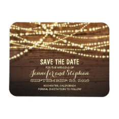 String Lights And Barn Wood Save The Date Magnet at Zazzle