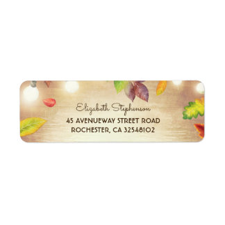 String Lights and Fall Leaves Rustic Wood Label