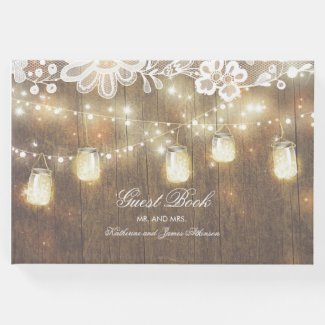 String Lights and Mason Jar Lace and Wood Wedding Guest Book