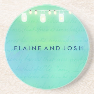 String lights and mason jars in blue green drink coaster