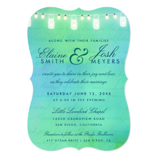 String lights and mason jars in blue green invite
