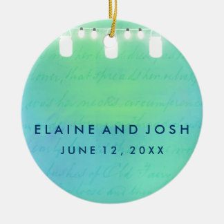 String lights and mason jars in blue green ornament