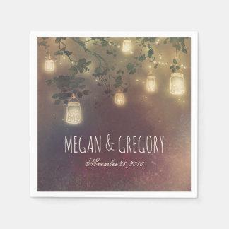 String Lights and Mason Jars Rustic Country Napkin