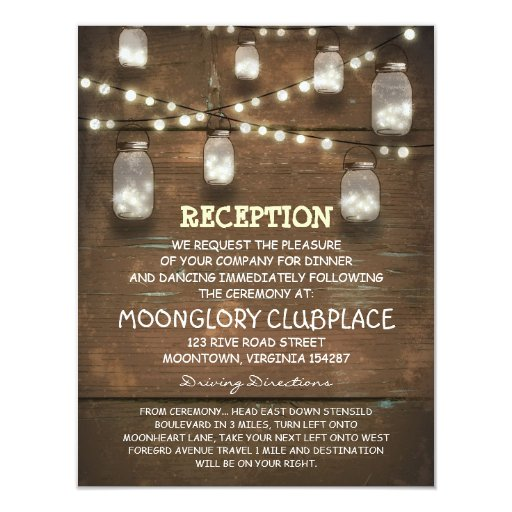 String Of Lights Mason Jars Vintage Wedding : string lights and mason jars wedding reception 4.25x5.5 paper invitation card Zazzle
