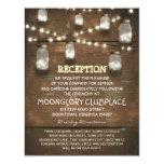 string lights and mason jars wedding reception 4.25x5.5 paper invitation card
