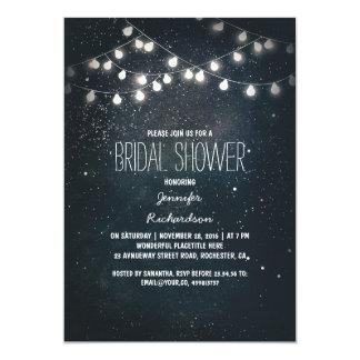 string lights and night sky stars bridal shower card